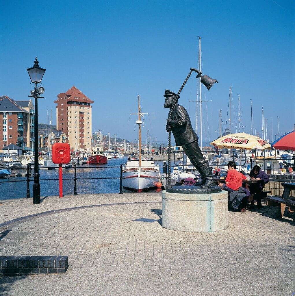Statue of Captain Cat from Under Milk Wood at Swansea Marina