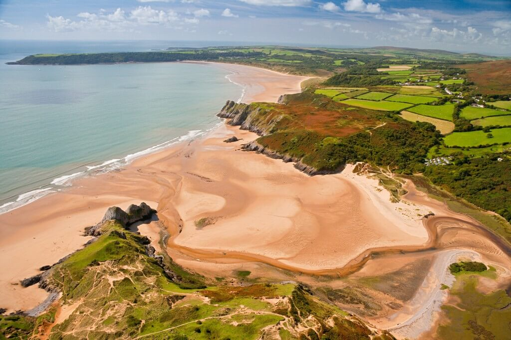 Aerial view of Three Cliffs Bay