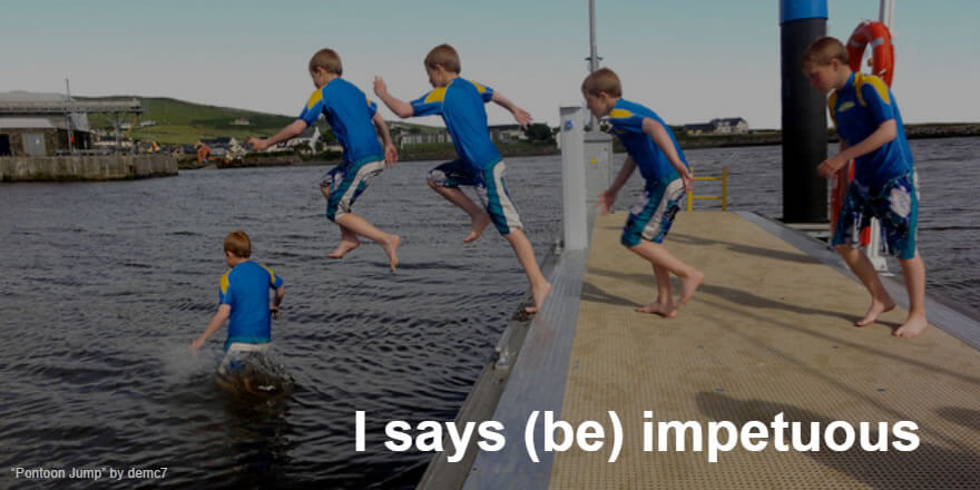 Boy jumping off a pontoon